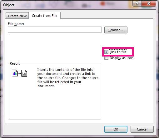 Valitse Luo tiedostosta -välilehdessä Linkitä tiedostoon.