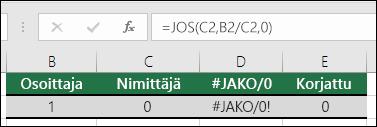 Virheenkäsittelyfunktion kuten JOS-funktion avulla voidaan käsitellä virheitä