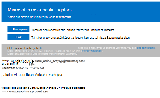 Roskapostin Fighters sähköpostin näyttökuva