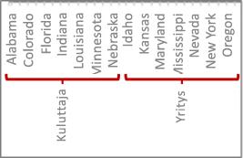 Tietojen hierarkia jakoviivoilla