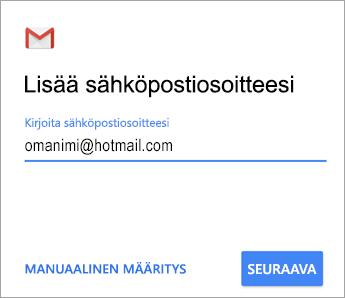 Lisää sähköpostiosoitteesi