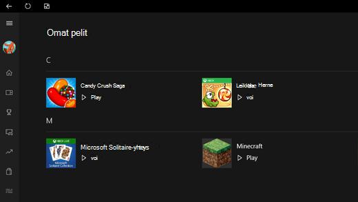 Näyttökuva Xbox-sovelluksen Omat pelit -osasta