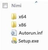 Office 2010:n 64-bittisen asennuksen käyttöympäristön valinnan kansiorakenne.