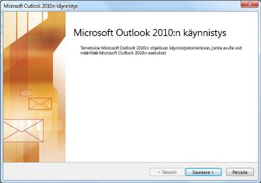 Outlook 2010:n käynnistysikkuna
