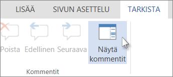 Kuva Word Onlinen lukunäkymän Kommentit-välilehdessä kommentin alapuolella olevasta Näytä kommentit -komennosta