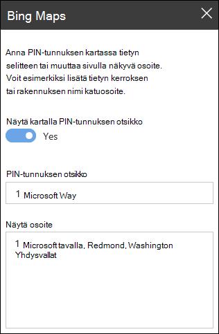 Bing Maps WWW-osan Työkalut