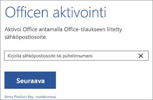 Näyttää Aktivoi-valintaikkunan, jossa voit kirjautua sisään Officen aktivointia varten