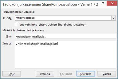 SharePointin ohjatun viemisen valintaikkuna