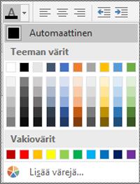 Windows-pöytätietokoneen Excelin Fontin väri -valikko