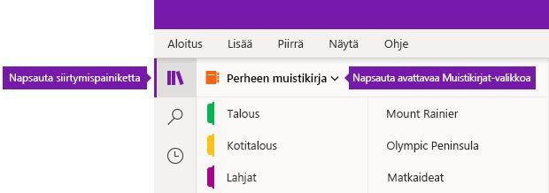 Muistikirjaluettelon laajentaminen OneNote for Windows 10:ssä