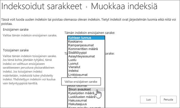 Muokkaa indeksi-sivun avattavasta ruudusta valittu sarake
