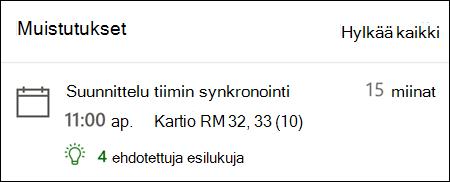 Muistutus esimerkki Outlookin verkko versiosta.