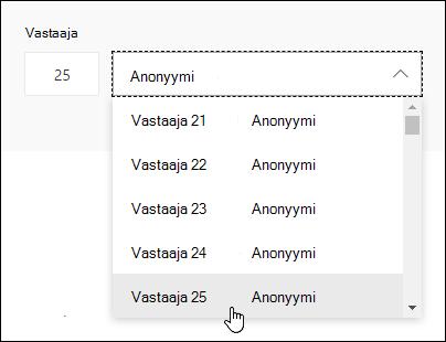 Kirjoittamalla tietyn numeron vasta ajan haku ruutuun näet kyseisen henkilön vasta uksen tiedot Microsoft Formsissa.