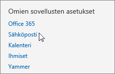 Näyttökuva Outlook Web Appin Asetusten Omat sovellusasetukset -osasta, jossa kohdistin osoittaa Sähköposti-vaihtoehtoa.