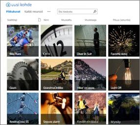 Näyttökuva SharePointin resurssikirjastosta Kirjaston videot ja kuvat näkyvät myös pikkukuvina. Lisäksi käytössä ovat standardinmukaiset mediaresurssien metatietosarakkeet.