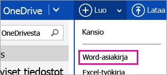 Word-asiakirjan luominen OneDrivessa