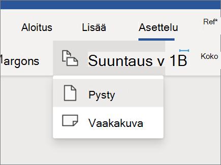 Sivun asettelun muuttaminen-Wordin verkko versio