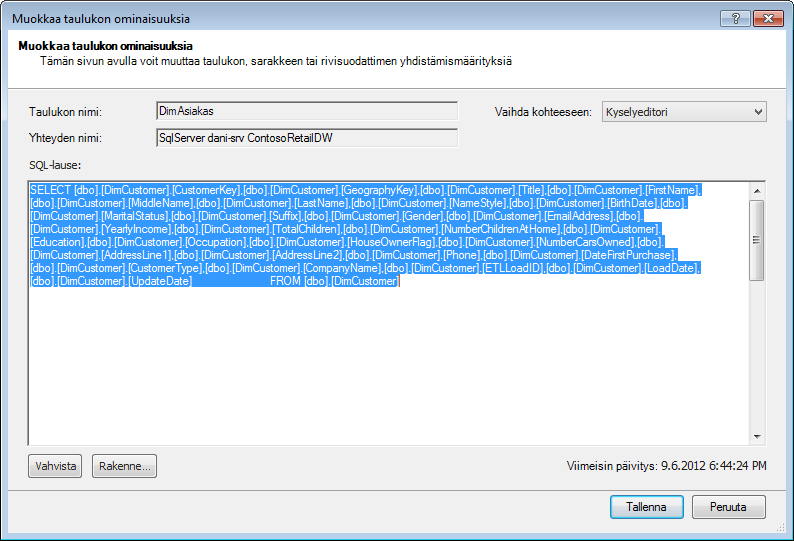 Tietojen hakemiseen käytetty SQL-kysely