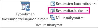 Näytä-välilehden Resurssitaulukko-kohta