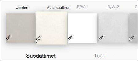 Kuvaskannausten suodatinvaihtoehdot OneDrive for iOS:ssä