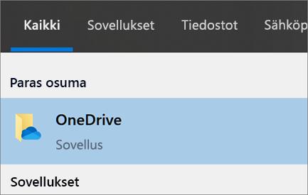 Näyttökuva OneDrive-työpöytäsovelluksen etsimisestä Windows 10:ssä