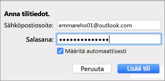 Sähköpostitilin lisääminen