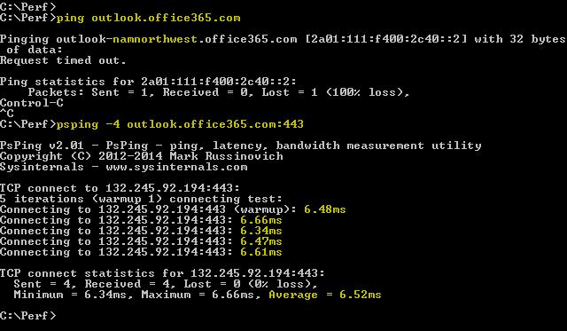Näyttökuva, jossa näkyy ping-pyyntö outlook.office365.com:n ratkaisemiseksi, ja PSPing, jossa 443 suorittaa saman toiminnon, mutta raportoi lisäksi 6,5 millisekunnin kiertoajan.