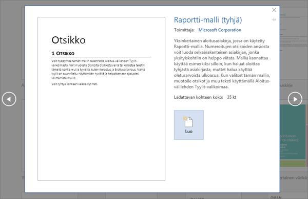 Näyttää raportin suunnittelumallin esikatselun Word 2016:ssa.