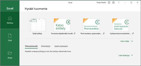 Excel-työkirjan luominen