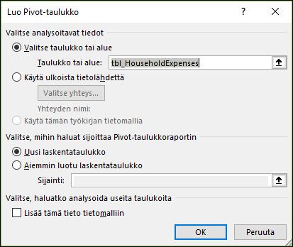 Excelin Lisää > Pivot-kaavion asetukset