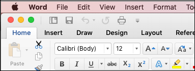 Perinteinen-teemaa Word for Mac valintanauha