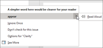 Tekstin korjaustoimintojen pikavalikko tarjoaa useita vaihtoehtoja nykyiselle ehdotukselle.