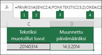 Tekstimerkkijonojen ja numeroiden muuntaminen päivämääriksi