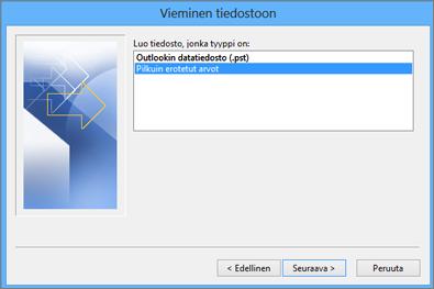 Outlookin Ohjattu vientitoiminto - Valitse CSV-tiedosto