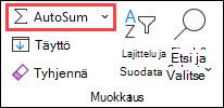 Aloitus-välilehden Automaattinen summa -painike