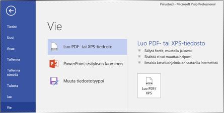 Vie PDF-muotoon -vaihtoehto Vision Tiedosto-välilehdessä.