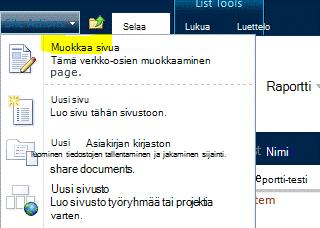 Sivuston toiminnot -valikon Muokkaa sivua -komento