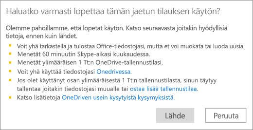 Näyttökuva vahvistusvalintaikkunasta, kun lopetat toisen henkilön sinulle jakaman Office 365 Home -tilauksen käytön.