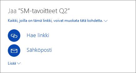 Näyttökuva, jossa näkyy tiedoston jakaminen OneDrivessa