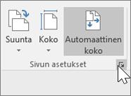 Näyttökuva Sivun asetukset -työkalurivistä, jossa on Automaattinen koko valittuna