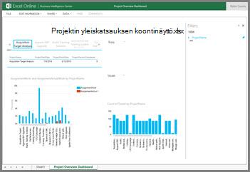 Projektin yleiskatsauksen koontinäytön työkirjasta saat ylätason tietoja projekteistasi