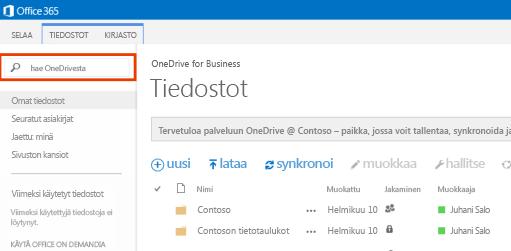 Näyttökuva Office 365:n OneDrive-hakuruudusta.