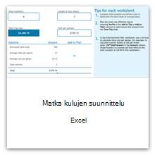 Matkakulujen suunnittelu Excelille