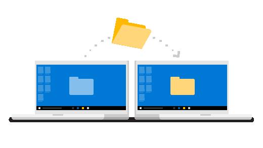 Kansio siirtymässä tietokoneesta toiseen