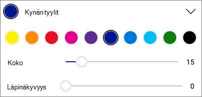 OneDrive for Androidin PDF-merkintä kynän tyylit