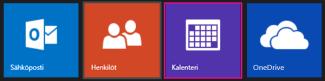 Outlook.com-päävalikko – kalenterin valitseminen
