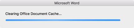 """""""Tyhjennetään Office-asiakirjavälimuistia"""" -edistymispalkki"""