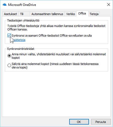 Näyttökuva uuden OneDrive for Business -synkronointiohjelman Asetukset-valintaikkunan Office-välilehdestä