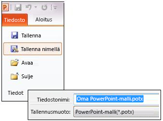 Esityksen tallentaminen .potx-tiedostona