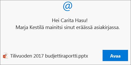 Maininnat kommenteissa lähettää vastaanottajalle sähköpostin, jossa on linkki.
